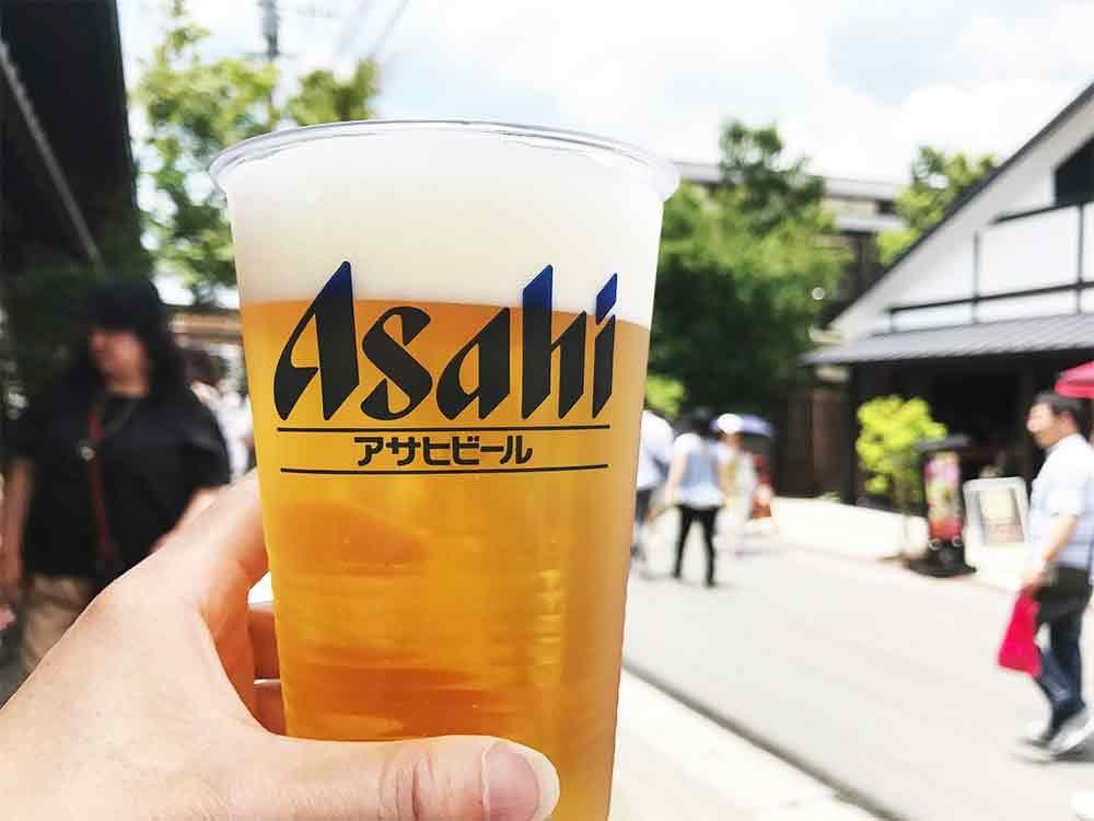 湯布院2時間滞在レポート*スーパー懸賞バス旅行*まずはビールで乾杯