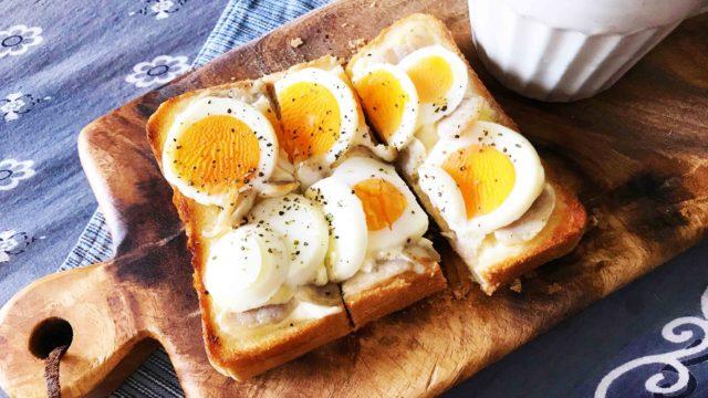 半熟ゆで卵でのせパン